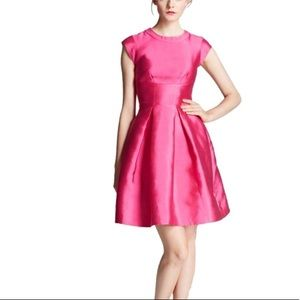Kate Spade pink silk fit flare cocktail dress. 8